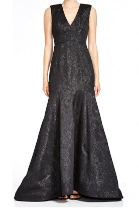 Black Sleeveless Metallic Jacquard Gown