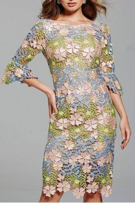 Jovani 61211 Colorful Floral Bell Sleeve Cocktail Dress