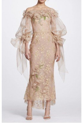Marchesa Gold Metallic Lace Off Shoulder Midi Tea Dress