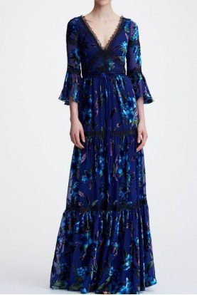 Blue Flounce Sleeve Printed Velvet Burnout Gown