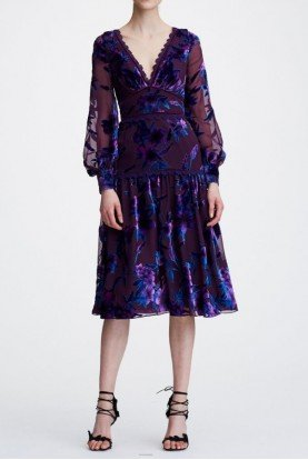 Purple Printed Velvet Burnout Cocktail Midi Dress