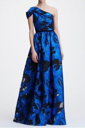 Blue One Shoulder Metallic Fils Coupe Gown