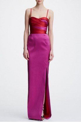 Marchesa Notte Pink Sleeveless Two Toned Stretch Mikado Gown