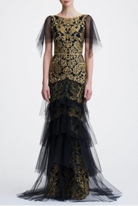 Black Gold Short Sleeve Metallic Embroidered Gown