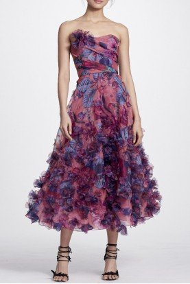 Marchesa Notte Pink Strapless 3D Floral Embroidered Midi Dress