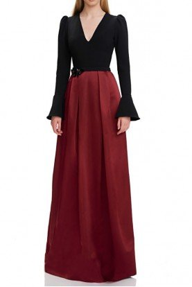 theia Black Red Long Bell Sleeve Evening Gown