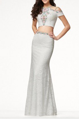 Mon Cheri CL18207 Two Piece White Lace Gown Prom Dress
