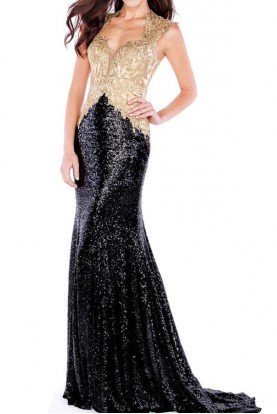 Mon Cheri Black Sequin Evening Gown Gold with Lace Applique