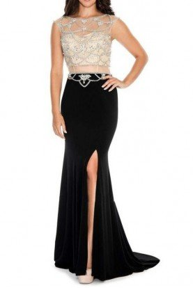 Black Nude Embellished Illusion Gown Dress