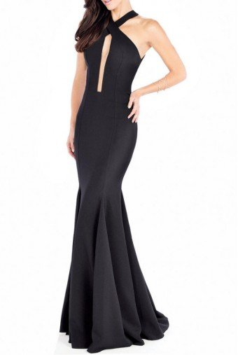 Mon Cheri Elegant Black Open Back Mermaid Gown MCE21612