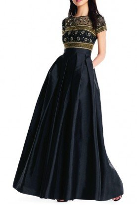 Aidan Mattox Black Embellished Short Sleeve Evening Gown