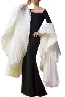 Black and White Owain Evening Gown Long Sleeves