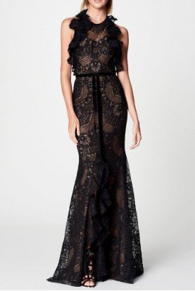 Black Sleeveless Double Ruffle Lace Evening Gown