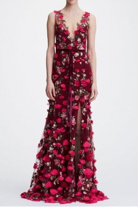 Marchesa Notte Wine Red Sleeveless Floral V Neck Embroidered Gown
