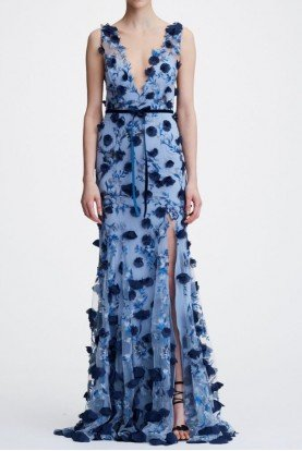 Blue 3D Floral Sleeveless V Neck Embroidered Gown
