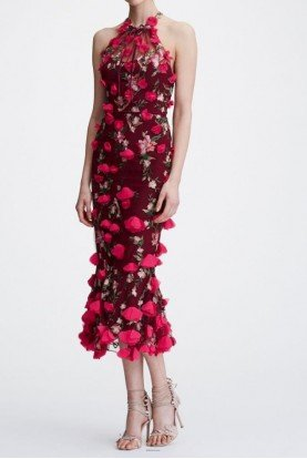 Wine Red Flower Embroidered Halter Neck Midi Dress