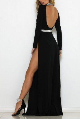 Medusa Black Long Sleeve Evening Gown Open Back