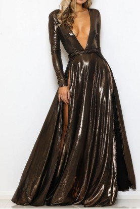 Abyss by Abby Liquid Bronze Deep V Neck Cannes Gown Dress