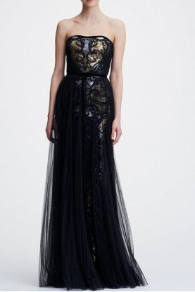 Black Strapless Metallic Sequined Evening Gown