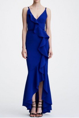 Marchesa Notte Royal Blue Sleeveless V Neck Crepe High Low Gown