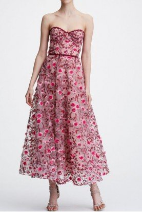 Blush Pink Strapless Floral Embroidered Midi Dress