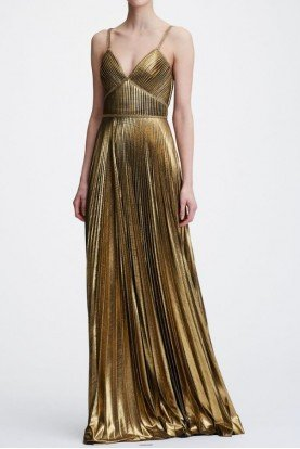 Metallic Gold Pleated Sleeveless Lame Evening Gown