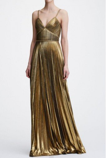 Marchesa Notte Metallic Gold Pleated Sleeveless Lame Evening Gown