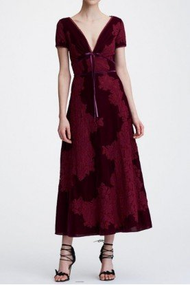 Wine Red Short Sleeve V Neck Velvet Midi Tea Dress