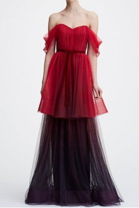 Red Off the Shoulder Ombre Tulle Tiered Gown