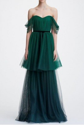 Marchesa Notte Emerald Green Off Shoulder Ombre Tulle Tiered Gown