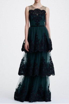 Marchesa Notte Green Sleeveless Soutache Embroidered Tiered Gown
