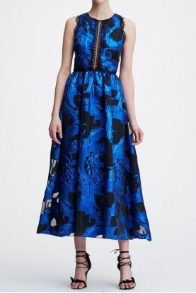 Blue Sleeveless Metallic Fils Coupe Midi Tea Dress