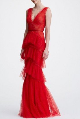 Marchesa Notte Red Sleeveless V Neck Tiered Lace Evening Gown