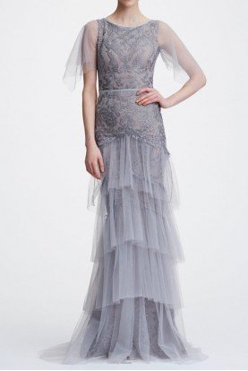 Marchesa Notte Silver Flutter Sleeve Metallic Embroidered Gown