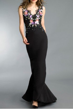 Black Sleeveless Beaded Floral Applique Gown