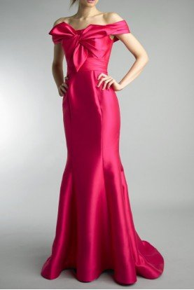 Basix Black Label Fuschia Off Shoulder Bow Long Dress Evening Gown