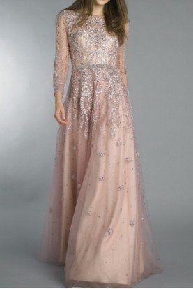 Mauve Long Sleeve Evening Gown