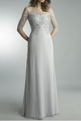 Basix Black Label Silver Quarter Sleeve Embroidered Evening Gown
