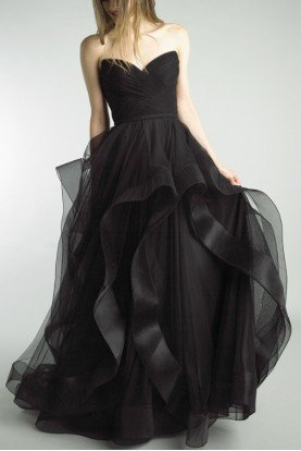 Black Strapless Ruffled Evening Gown