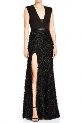 Black V Neck Feather Boucle Gown