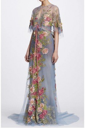 Marchesa Dusty Blue Floral Embroidered Tulle Gown with Cape