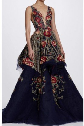 Marchesa Navy Blue V Neck Floral Embroidered Ball Gown