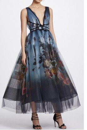 Marchesa Blue Floral Ombre V Neck Midi Tea Dress