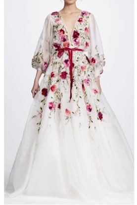 Marchesa Ivory Silk Floral Embroidered Gown