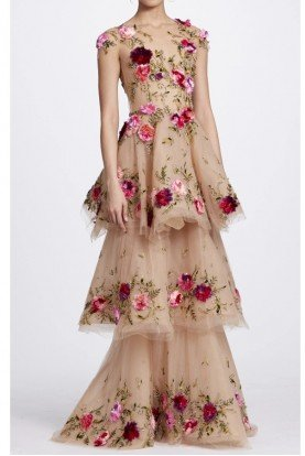 Marchesa Nude Illusion Tulle Floral Tiered Embroidered Gown