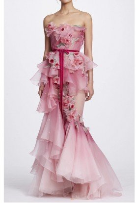 Marchesa Rose Pink Ombre Strapless Floral Corset Gown
