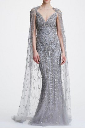 Marchesa Sleeveless Platinum Tulle Gown with Cape