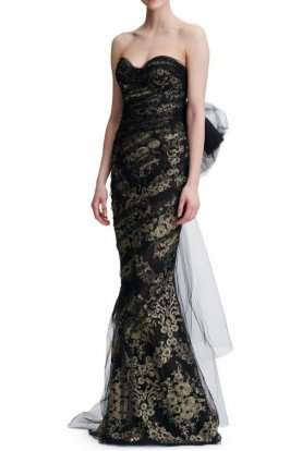 Marchesa Black Gold Metallic Corded Lace Strapless Gown