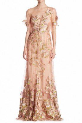 Pink Floral Tulle Evening Gown