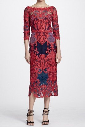 Marchesa Notte Sleeved Color Block Lace Embroidered Midi Dress